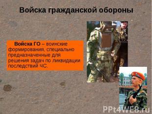 Войска гражданской обороны Войска ГО – воинские формирования, специально предназ