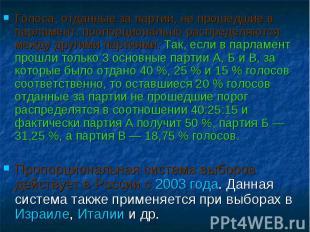 Голоса, отданные за партии, не прошедшие в парламент, пропорционально распределя
