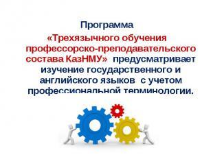 Программа «Трехязычного обучения профессорско-преподавательского состава КазНМУ»