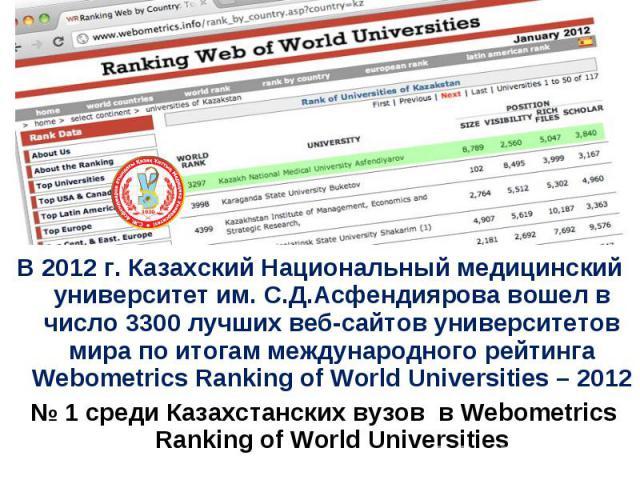В 2012 г. Казахский Национальный медицинский университет им. С.Д.Асфендиярова вошел в число 3300 лучших веб-сайтов университетов мира по итогам международного рейтинга Webometrics Ranking of World Universities – 2012 № 1 среди Казахстанских вузов в …