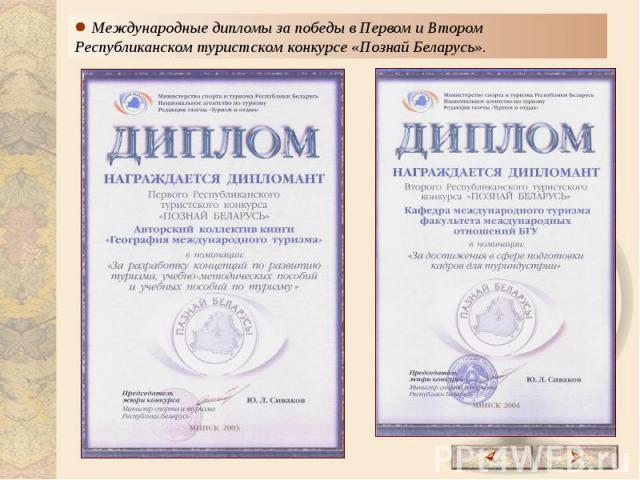 Международные дипломы за победы в Первом и Втором Республиканском туристском конкурсе «Познай Беларусь».
