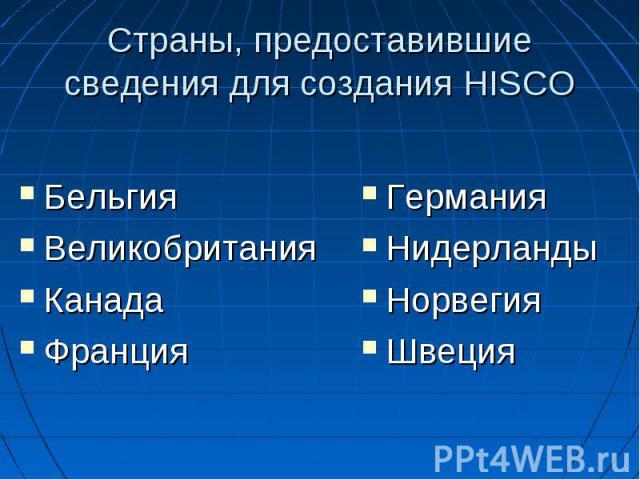 Страны, предоставившие сведения для создания HISCO Бельгия Великобритания Канада Франция ГерманияНидерландыНорвегияШвеция