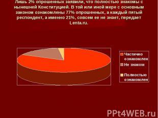 Лишь 2% опрошенных заявили, что полностью знакомы с нынешней Конституцией. В той