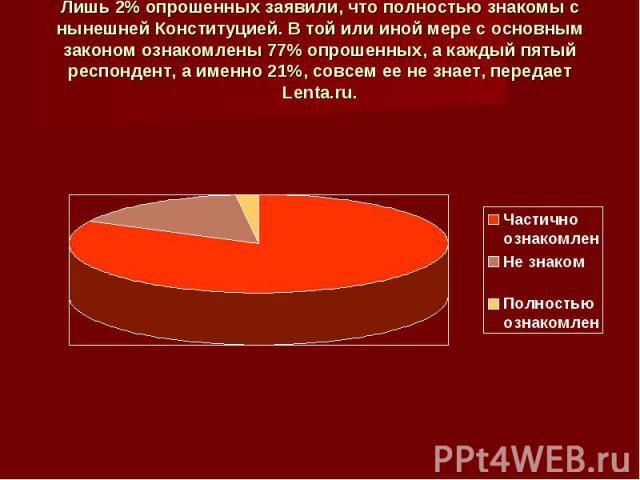 Лишь 2% опрошенных заявили, что полностью знакомы с нынешней Конституцией. В той или иной мере с основным законом ознакомлены 77% опрошенных, а каждый пятый респондент, а именно 21%, совсем ее не знает, передает Lenta.ru.