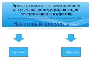 Практика показывает, что сферы налогового консультирования следует разделить на