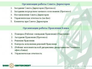 Организация работы Совета Директоров Заседания Совета Директоров (Протокол)Засед