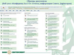 Образцы документов (Веб-узел «Конференц-Зал ГО» Отчеты, информация Совету Директ