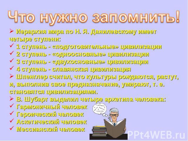 Иерархия мира по Н. Я. Данилевскому имеет четыре ступени: 1 ступень - «подготовительные» цивилизации 2 ступень - «одноосновные» цивилизации 3 ступень - «двухосновные» цивилизации 4 ступень - славянская цивилизация Шпенглер считал, что культуры рожда…