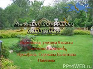 Дизайнер природного ландшафта Выполнила: ученица 9 классаХонюкова ВалентинаПрове