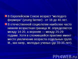 """В Европейском Союзе возраст """"молодого фермера"""" (young farmer) - от 18 до 40 лет."""
