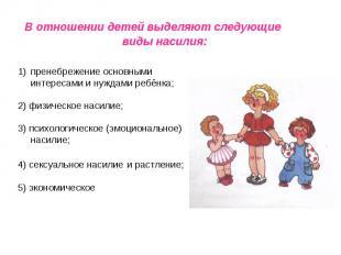 В отношении детей выделяют следующие виды насилия: пренебрежение основными интер