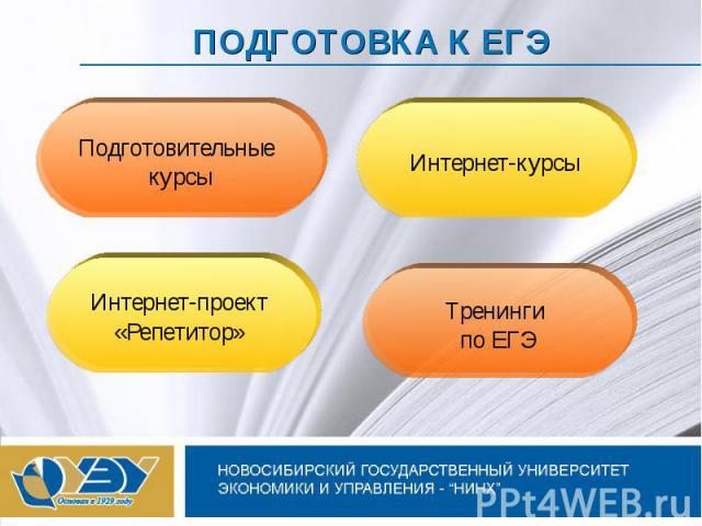 ПОДГОТОВКА К ЕГЭ Подготовительные курсыИнтернет-курсыИнтернет-проект «Репетитор» Тренинги по ЕГЭ