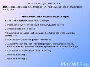 Технология подготовки обзора Источник: . Брежнева В.В., Минкина В.А. Информацион