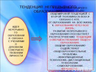 ТЕНДЕНЦИЯ НЕПРЕРЫВНОГО ОБРАЗОВАНИЯ ИДЕЯ НЕРЕРЫВНОГО ОБРАЗОВАНИЯ СВЯЗАНА С УЧЕНИЯ