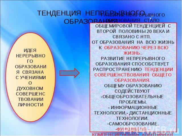 ТЕНДЕНЦИЯ НЕПРЕРЫВНОГО ОБРАЗОВАНИЯ ИДЕЯ НЕРЕРЫВНОГО ОБРАЗОВАНИЯ СВЯЗАНА С УЧЕНИЯМИ О ДУХОВНОМ СОВЕРШЕНСТВОВАНИИ ЛИЧНОСТИРАЗВИТИЕ НЕПРЕРЫВНОГО ОБРАЗОВАНИЯ СТАЛО ОБЩЕМИРОВОЙ ТЕНДЕНЦИЕЙ С ВТОРОЙ ПОЛОВИНЫ 20 ВЕКА И СВЯЗАНО С НТП. ОТ ОБРАЗОВАНИЯ НА ВСЮ Ж…
