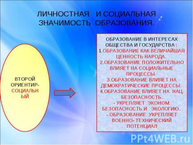 ЛИЧНОСТНАЯ И СОЦИАЛЬНАЯ ЗНАЧИМОСТЬ ОБРАЗОВАНИЯ. ВТОРОЙ ОРИЕНТИР- СОЦИАЛЬНЫЙОБРАЗОВАНИЕ В ИНТЕРЕСАХ ОБЩЕСТВА И ГОСУДАРСТВА : 1.ОБРАЗОВАНИЕ КАК ВЕЛИЧАЙШАЯ ЦЕННОСТЬ НАРОДА. 2.ОБРАЗОВАНИЕ ПОЛОЖИТЕЛЬНО ВЛИЯЕТ НА СОЦИАЛЬНЫЕ ПРОЦЕССЫ. 3.ОБРАЗОВАНИЕ ВЛИЯЕТ …
