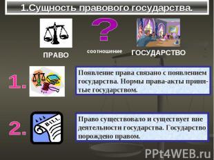1.Сущность правового государства. Появление права связано с появлениемгосударств