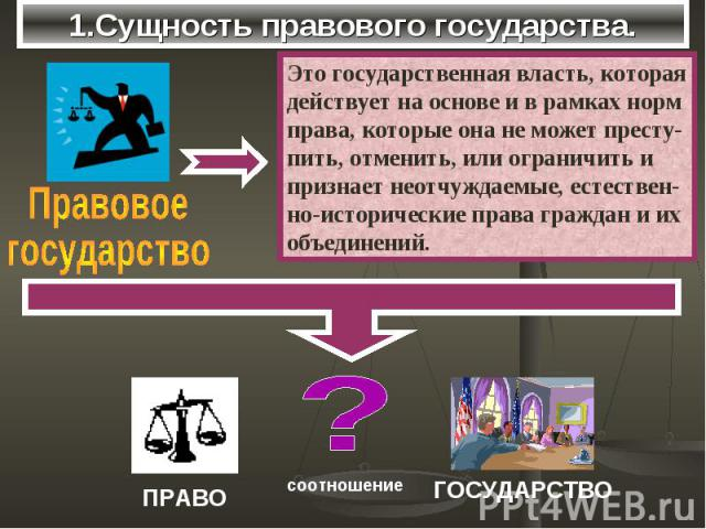 1.Сущность правового государства. ПравовоегосударствоЭто государственная власть, котораядействует на основе и в рамках норм права, которые она не может престу-пить, отменить, или ограничить и признает неотчуждаемые, естествен-но-исторические права г…