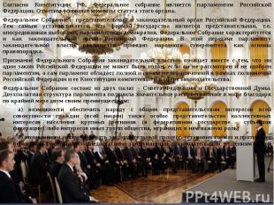Согласно Конституции РФ, Федеральное собрание является парламентом Российской Фе