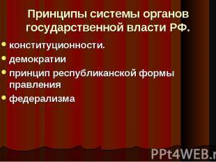 Принципы системы органов государственной власти РФ. конституционности. демократи