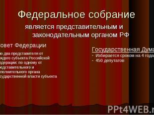 Федеральное собрание является представительным и законодательным органом РФСовет