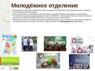 Молодёжное отделение Молодёжная организация образована в 1995 Объединением «ЯБЛО