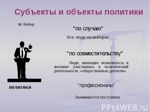 """Субъекты и объекты политики """"по случаю""""Все люди на выборах""""по совместительству""""Л"""