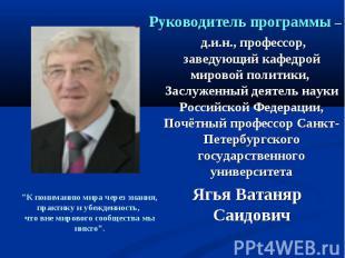 Руководитель программы – д.и.н., профессор, заведующий кафедрой мировой политики
