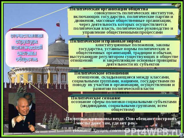 отечественнаяструктураполитической системыобществаПолитическая организация общества совокупность политических институтов, включающих государство, политические партии и движения, массовые общественные организации, через деятельность которых осуществл…