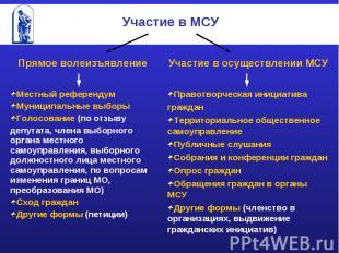 Участие в МСУ Прямое волеизъявлениеМестный референдумМуниципальные выборыГолосов