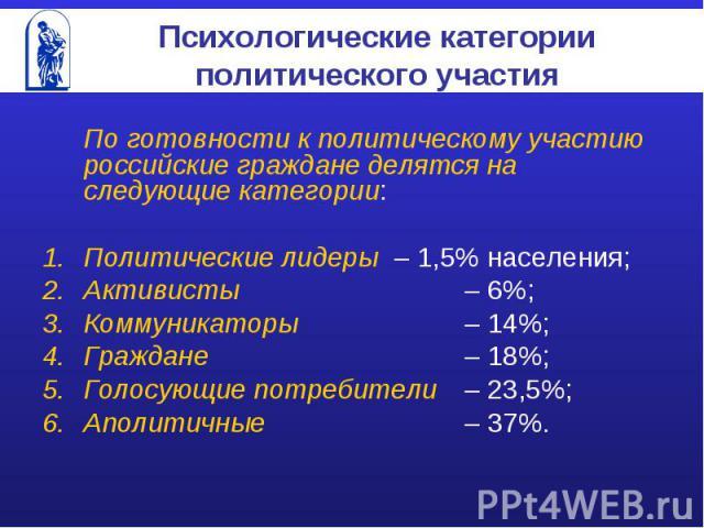 Психологические категории политического участия По готовности к политическому участию российские граждане делятся на следующие категории:Политические лидеры – 1,5% населения;Активисты – 6%;Коммуникаторы – 14%;Граждане – 18%;Голосующие потребители– 2…