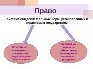 Право - система общеобязательных норм, установленных и охраняемых государствомПо