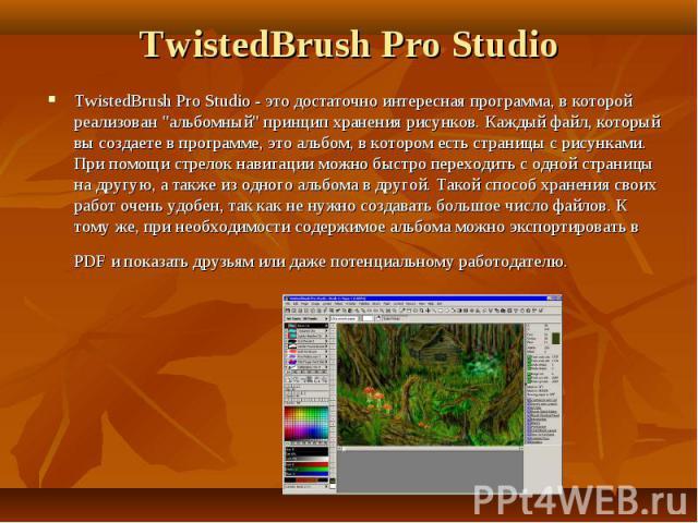 TwistedBrush Pro Studio TwistedBrush Pro Studio - это достаточно интересная программа, в которой реализован