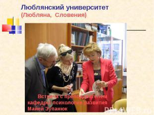 Люблянский университет(Любляна, Словения) Встреча с преподавателем кафедры психо