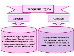 Кооперация труда Простая организация труда, при которой работа может быть раздел