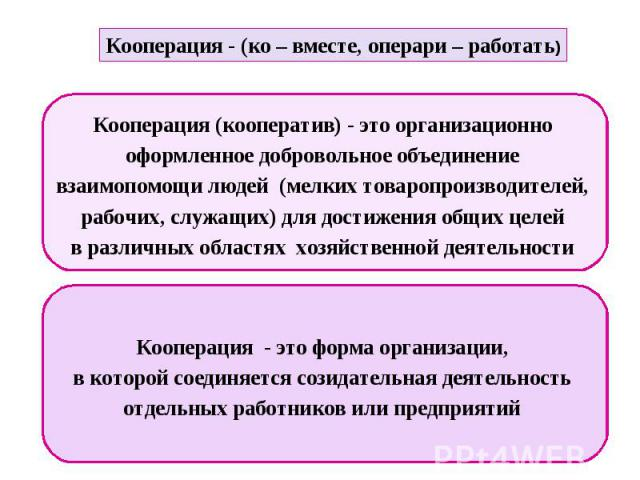 Кооперация - (ко – вместе, операри – работать) Кооперация (кооператив) - это организационно оформленное добровольное объединение взаимопомощи людей (мелких товаропроизводителей, рабочих, служащих) для достижения общих целей в различных областях хозя…