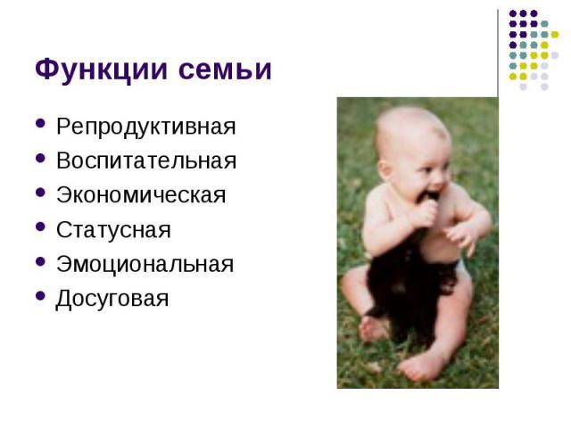 Функции семьи РепродуктивнаяВоспитательная ЭкономическаяСтатуснаяЭмоциональнаяДосуговая