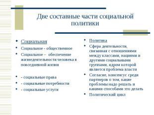 Две составные части социальной политики СоциальнаяСоциальное - общественноеСоциа