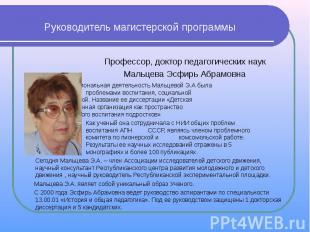 Руководитель магистерской программы Профессор, доктор педагогических наук Мальце
