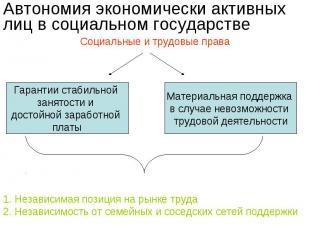 Автономия экономически активных лиц в социальном государстве Социальные и трудов
