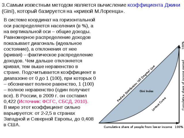 3.Самым известным методом является вычисление коэффициента Джини (Gini), который базируется на «кривой М.Лоренца». В системе координат на горизонтальной оси распределяется населения (в %), а на вертикальной оси – общие доходы. Равномерное распределе…