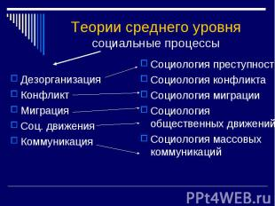 Теории среднего уровнясоциальные процессы ДезорганизацияКонфликтМиграцияСоц. дви