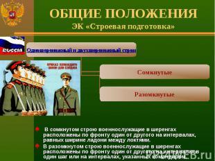 ОБЩИЕ ПОЛОЖЕНИЯЭК «Строевая подготовка» В сомкнутом строю военнослужащие в шерен
