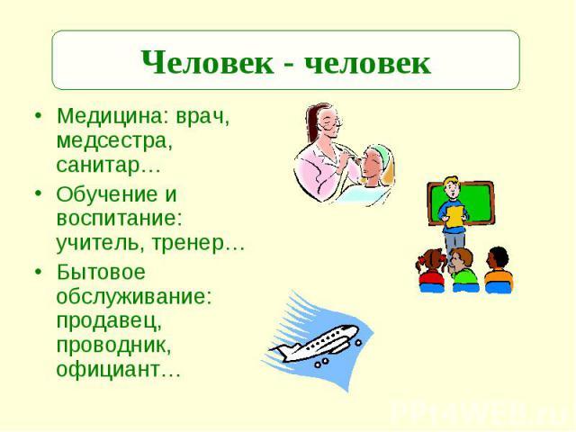 Человек - человек Медицина: врач, медсестра, санитар…Обучение и воспитание: учитель, тренер…Бытовое обслуживание: продавец, проводник, официант…
