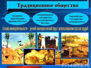 Традиционное общество Аграрные цивилизации Древнего ВостокаСредневековые государ