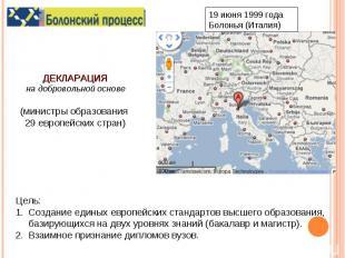 ДЕКЛАРАЦИЯна добровольной основе(министры образования 29 европейских стран)Цель: