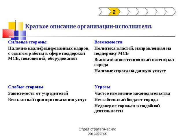 Краткое описание организации-исполнителя.