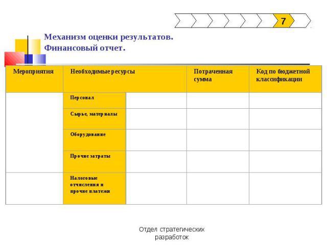 Механизм оценки результатов.Финансовый отчет.