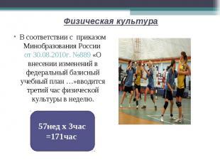 Физическая культура В соответствии с приказом Минобразования России от 30.08.201