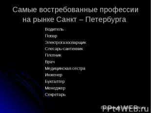 Самые востребованные профессии на рынке Санкт – Петербурга